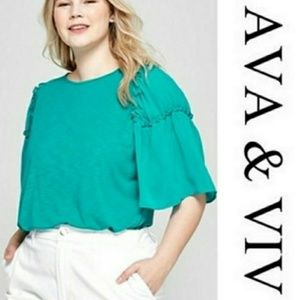 Ava & Viv Flounce Sleeve Blou